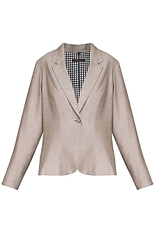 Beige pleated blazer
