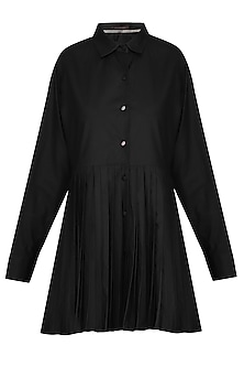 Black double pleated shirt tunic