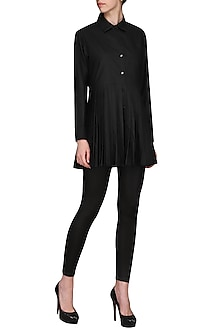 Black double pleated shirt tunic by Chillosophy
