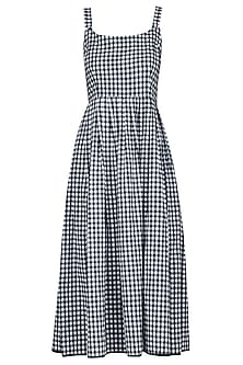 Blue Chequered Slip Midi Dress