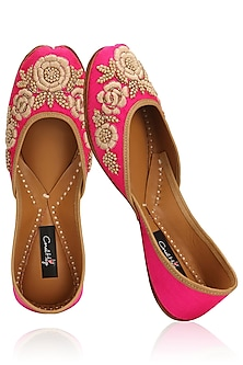 Fushcia Pink Thread Embroidered Juttis by Coral Haze