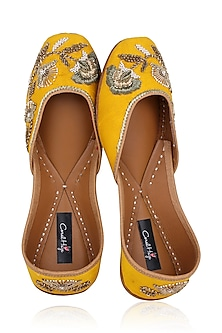 Yellow Hand Embroidered Juttis by Coral Haze