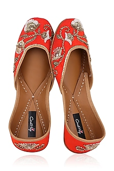 Bright Orange Hand Embroidered Juttis by Coral Haze