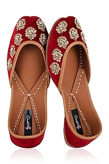 Red Zardozi and Sequins Embroidered Juttis by Coral Haze