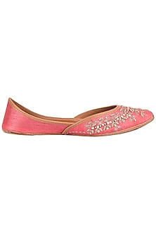Coral Pink Embroidered Juttis by Coral Haze