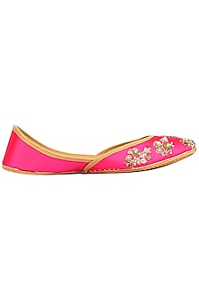 Hot Pink Embroidered Juttis by Coral Haze