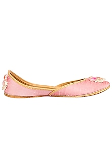 Blush Pink Embroidered Juttis by Coral Haze