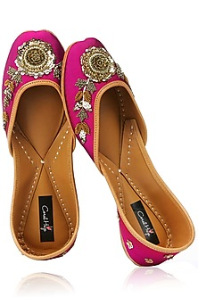 Fuschia Pink and Gold Floral Zardozi Embroidered Juttis by Coral Haze