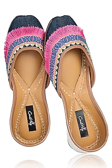Denim and Multi-Colour Hand Embroidered Fringe Juttis by Coral Haze