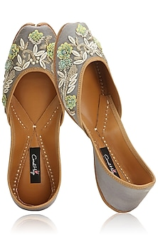 Grey and Multi-Colour Floral Hand Embroidered Juttis by Coral Haze