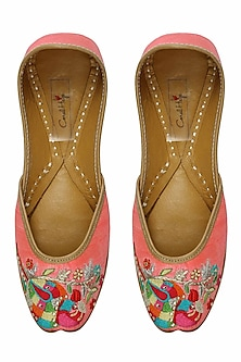 Bright pink thread embroidered parrot motifs juttis by Coral Haze