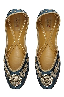 Royal blue and gold floral zardozi embroidered juttis by Coral Haze