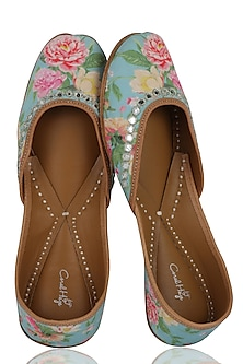 Turquoise Floral Hand Embroidered Juttis by Coral Haze