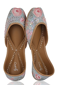 Pale Mint Blue Floral Printed Juttis by Coral Haze