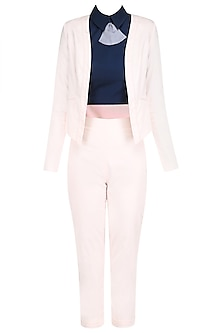 Powder Pink Pantsuit with Navy Blue Peplum Collar Crop Top by The Circus by Sana and Sulakshana