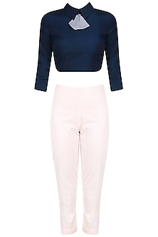 Navy Blue Peplum Bow Crop Top with Peter Pan Trouser Pants