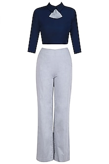 Navy Blue Peplum Bow Crop Top with Trouser Pants