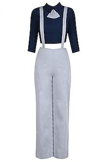 Navy Blue Peplum Bow Crop Top with Suspender Trouser Pants by The Circus by Sana and Sulakshana