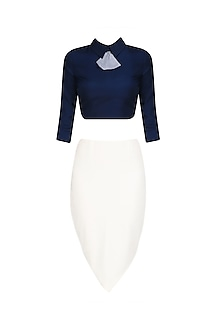 Navy Blue Peplum Bow Collared Crop Top with Petal Skirt