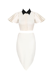 White Peplum Sleeves Crop Top and Petal Skirt Set