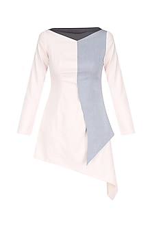 Charcoal Grey and Powder Pink Color Block Asymmetrical Dress