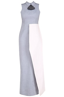Grey and Powder Pink Peplum Bow Maxi Dress