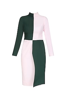 Emerald Green and Powder Pink Color Block Dress