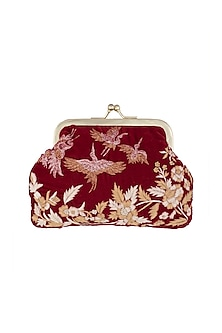 Deep Red Embroidered Velvet Clutch by Clutch'D