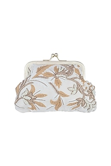 White Embroidered Clutch by Clutch'D