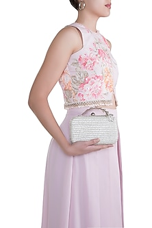 Silver Embroidered Textured Clutch by Clutch'D