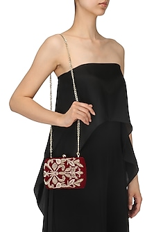 Wine Zardozi Work Velet Box Clutch