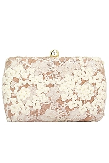 Snow White Appliqued Flowers Box Clutch by Clutch'D