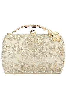 Creme Pearl and Zardozi Work Box Clutch by Clutch'D