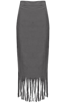 Grey Fringes Pencil Fitted Midi Skirt