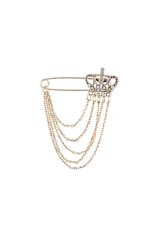 Gold Finish Crown Coat Pin With Chain by Closet Code