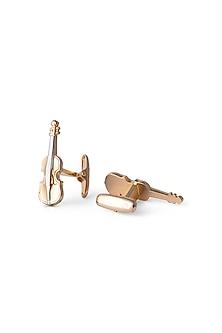 Gold Guitar Cufflinks by Closet Code