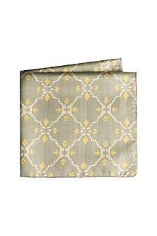 Grey Moroccan Printed Pocket Square by Closet Code