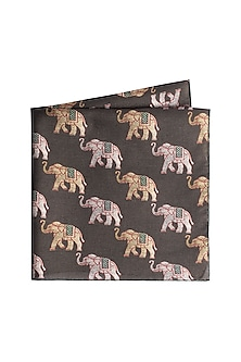 Olive Green Elephant Printed Pocket Square by Closet Code