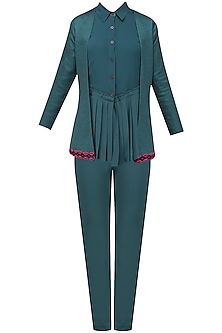 Teal Blue Power Suit Set by Chandni Sahi