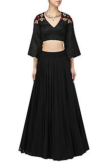 Black Crop Top Skirt