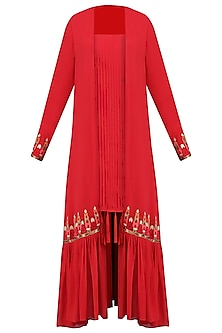 Red Pleated Dress with Gathered Jacket by Chandni Sahi