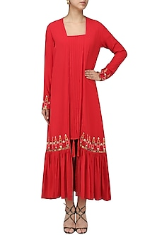 Red Pleated Gathered Jacket