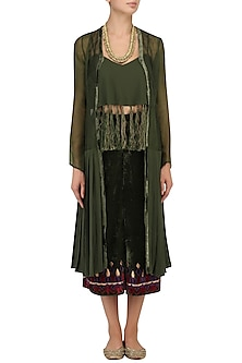 Army Green Tasseled Crop Top and Pleated Jacket and Culottes Set by Chandni Sahi