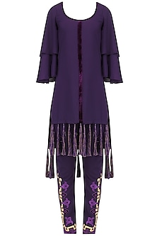 Purple Tasseled High Low Kurta and Embroided Pants