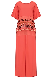 Peach Layered Embroidered Top and Palazzo Set