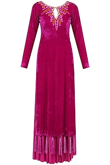 Deep Pink Embroidered Kurta and Pleated Palazzo Set