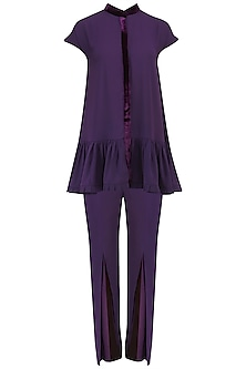 Purple Pleated Peplum and Pants Set