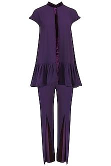 Purple Pleated Peplum and Pants Set