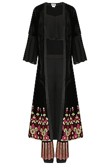 Black Crop Top and Embroidered Jacket and Pants Set