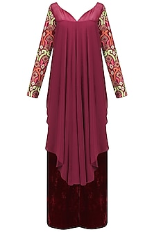 Burgundy Asymmetrical Pleated Kurta and Pants Set